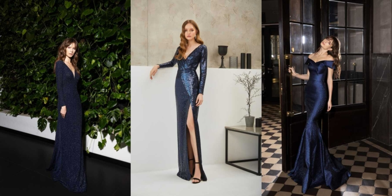 Синие платья с чем носить - вечерние, коктейльные, деловые