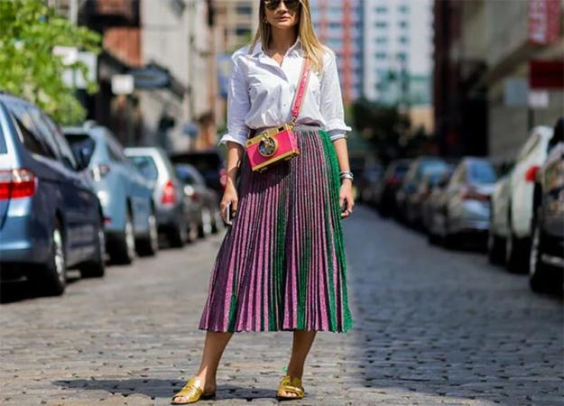 Как и с чем носить юбку миди
